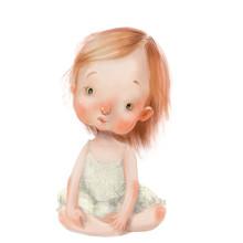 Cartoon Little Girl In Blue Dress