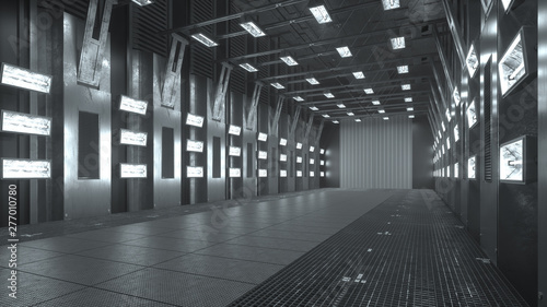 Empty dark modern architecture warehouse with lights. Car backplate. 3D illustration. 3D rendering. - 277010780