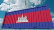 Loading container with flag of Cambodia. Cambodian import or export related conceptual 3D animation