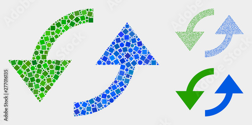 Mosaic Sync arrows icon composed of spheric and square items in different sizes, positions and proportions. Vector spheric and square elements are composed into abstract mosaic sync arrows icons.