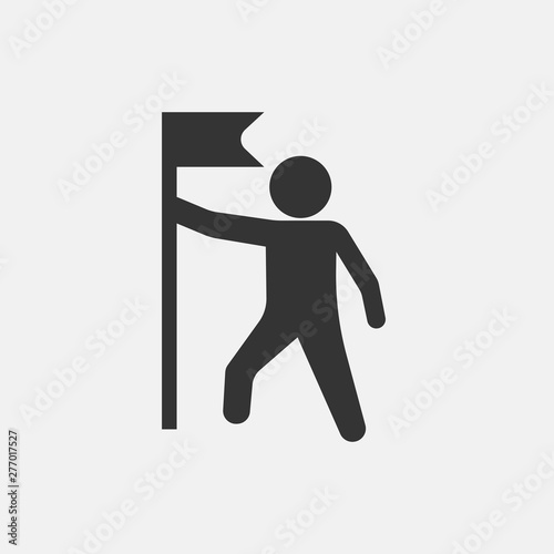 Man holding vector icon illustration sign Canvas Print