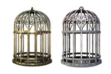 Pair Of Vintage Cages Isolated...