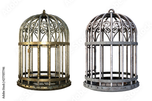 Pair of vintage cages isolated on white, 3d render. Wallpaper Mural