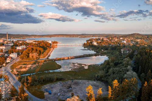 Scenic aerial view of small ancient touristic town Sortavala near Ladoga lake in Karelia Billede på lærred