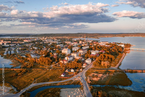Fotografering  Scenic aerial view of small ancient touristic town Sortavala near Ladoga lake in Karelia