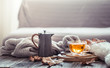 canvas print picture - Cozy autumn still life with a cup of tea