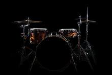 Drum Set On A Stage At Dark Ba...