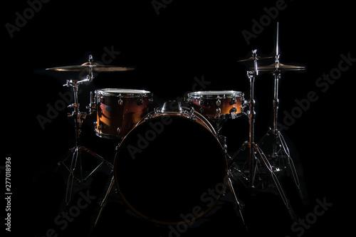 Drum Set On A Stage At Dark Background Fototapeta