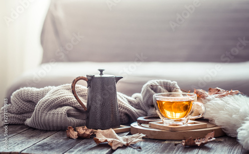 Cozy autumn still life with a cup of tea Fototapeta