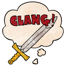 Cartoon Clanging Sword And Tho...