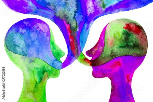due persone discutono, comunicazione, disegno colorato su sfondo bianco Canvas Print