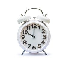 White Alarm Clock At 10 Ten O'clock Isolated On White Background (clipping Path):