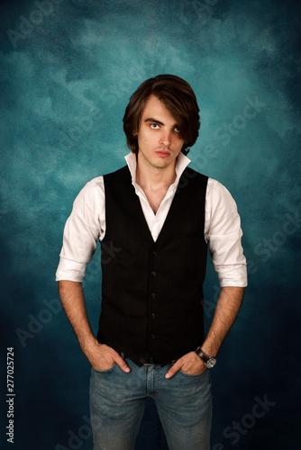 Young man wearing shirt and elegant waistcoat Slika na platnu