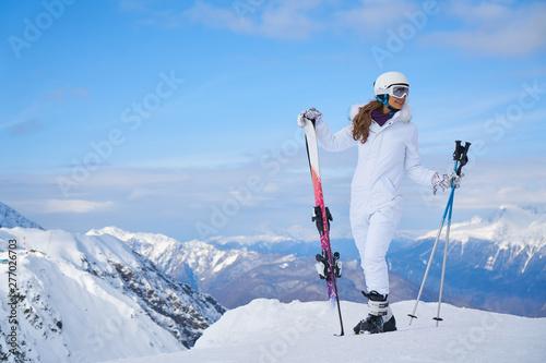 Fotografija  Young caucasian woman skier
