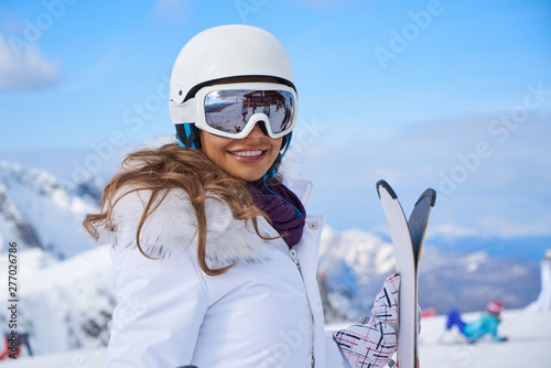 Young caucasian woman skier Canvas Print