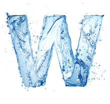 Letter W Made Of Water Splash Isolated On White Background