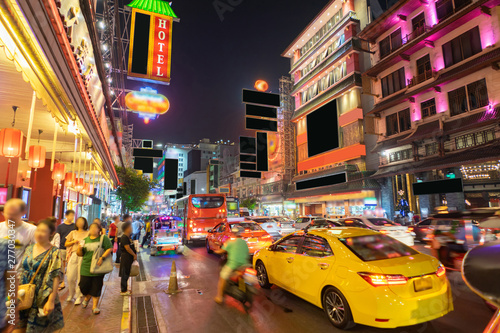 China Town called Yaowarat in the rush hour night, Bangkok Thailand.