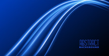 Abstract Blue Background With Glowing Light Wave