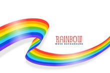 Rainbow Wavy Ribbon Or Flag Ba...