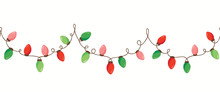 Vector Red Green Holiday Christmas New Year Intertwined String Lights Isolated Horizontal Seamless Border Background