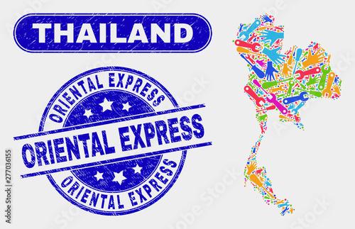 Fototapeta Tools Thailand map and blue Oriental Express grunge seal stamp