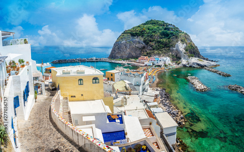 Canvas Prints Mediterranean Europe Landscape with Sant Angelo village, coast of Ischia, italy