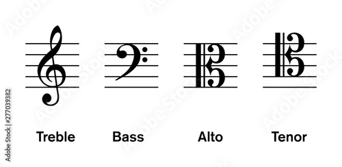 Most common clefs, regulatory used in modern music Canvas Print