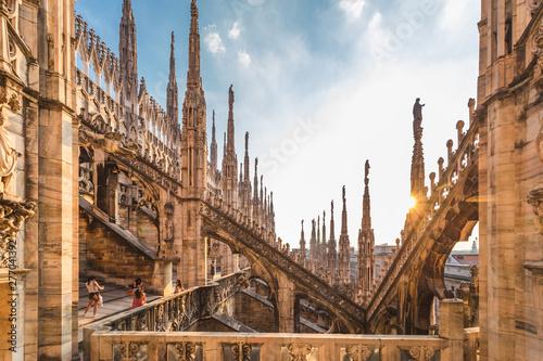 Fototapeta premium Katedra w Mediolanie, Katedra w Mediolanie, Mediolan, Lombardia, Włochy