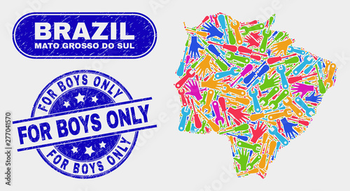 Fotografija  Element Mato Grosso do Sul State map and blue For Boys Only scratched stamp