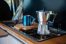 Aqua Bialetti Stovetop Coffee Maker And Mug, On A Van Gas Cooker