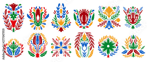 Vászonkép  Traditional folk ornament set elements
