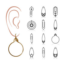 12 Earring Vector Templates