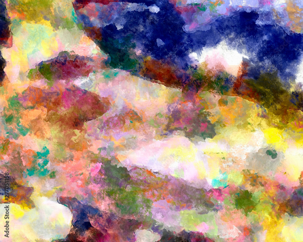 Abstract art texture with mixed brush strokes on canvas. Creative bright artistic background. Digital oil painting imitation pattern.