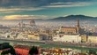 Morning Florence (Firenze), Italy, covered with mist. Panorama of Santa Maria Novella, the Cathedral of Santa Maria del Fiore, Arno River, Ponte Vecchio bridge etc. Panning shot, 4K