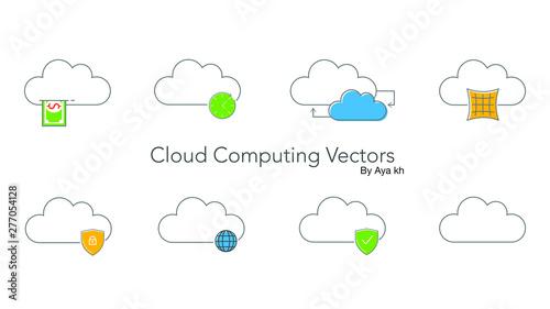 cloud computing icons set Canvas Print