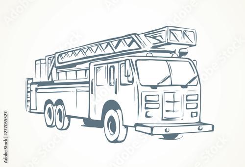 Fototapeta Fire truck. Vector drawing