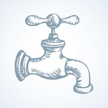 Sketch Of Water Tap. Vector Illustration