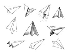 Set Of Paper Planes. Hand Draw...