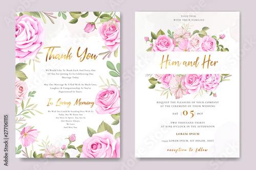 Fototapeta beautiful wedding invitation card with elegant floral and leaves template obraz na płótnie
