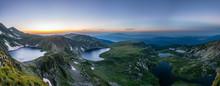 Sunrise Aerial View Of Seven Rila Lakes In Bulgaria