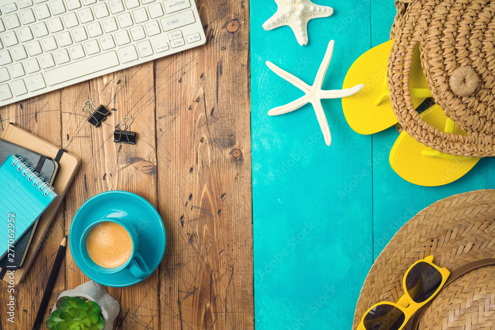Fototapety, obrazy: Summer holiday vacation concept with beach accessories and office desk background. Top view from above