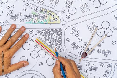 Fotografering Landscape Designs Blueprints For Housing Development.