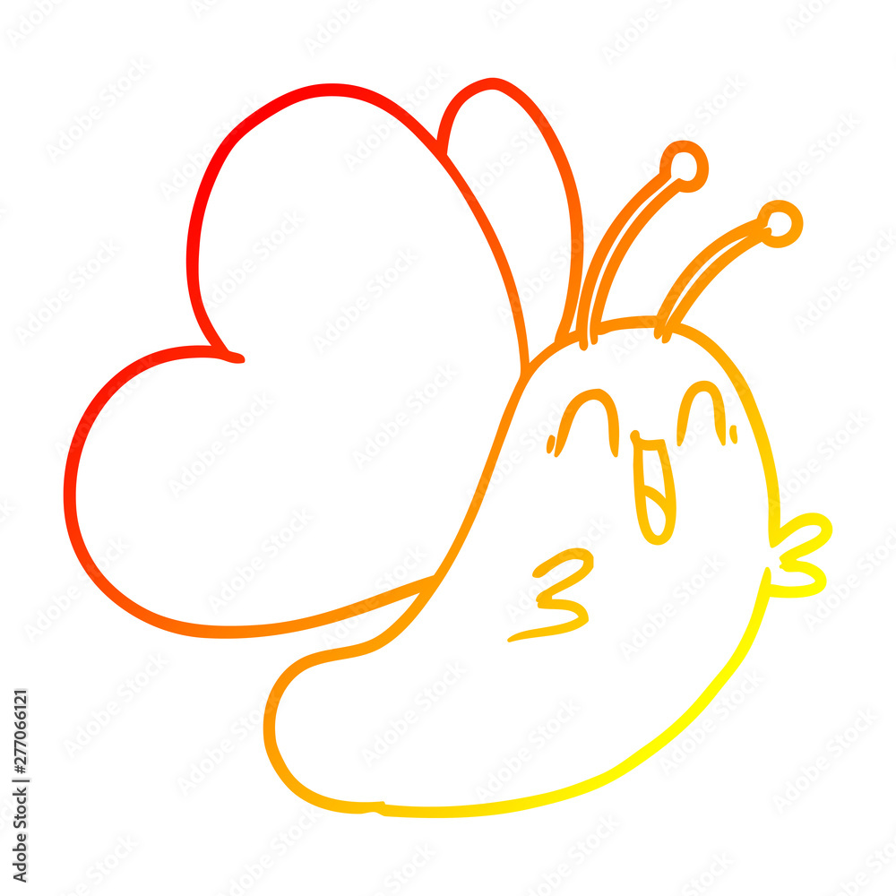 Fototapety, obrazy: warm gradient line drawing funny cartoon butterfly