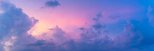 Panorama Of Beautiful Pastel Colored Cloudscape At Sunset