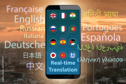 Tablou Canvas Concept of real time translation with smartphone app - 3d render