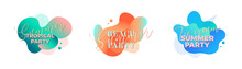 Summer Party. Design Templates With Fluid Shapes