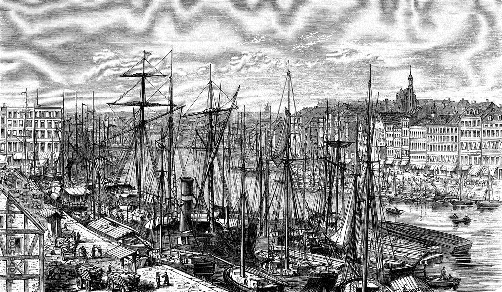 Fototapety, obrazy: Panoramiczny widok na port w Szczecinie z zacumowanymi żaglówkami i panoramą miasta, XIX wiek