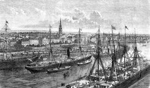 Panoramic View Of Bremenhaven Seaport Of The Free Hanseatic City Of Bremen On The Mouth Of Weser River In 19th Century