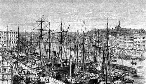 Obraz Panoramiczny widok na port w Szczecinie z zacumowanymi żaglówkami i panoramą miasta, XIX wiek - fototapety do salonu