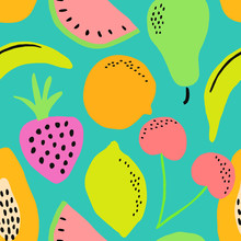 Hand Painted Seamless Pattern With Colorful Fruits On Aquamarine Blue Background.